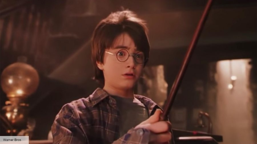 boy holding a wand looking shocked