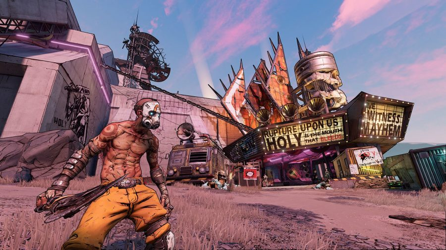A psycho in Borderlands standing a desert region of Pandroa, in front of an old disused store billboard