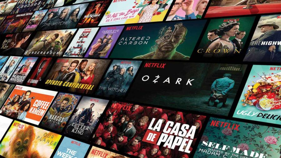 A collage of titles of Netflix shows and exclusives