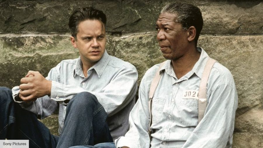 Tim Robbins as Andy DuFresne and Morgan Freeman as Red in The Shawshank Redemption