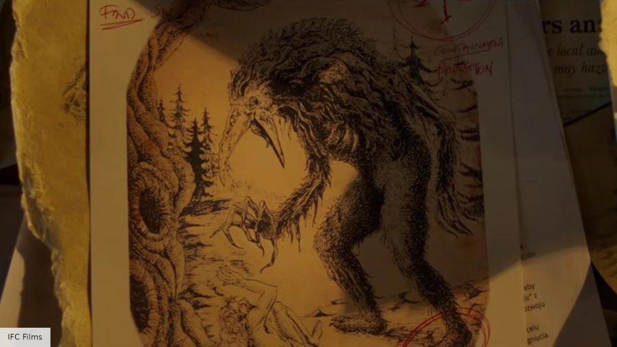 Picture of a large demonic creature on old, yellowing paper