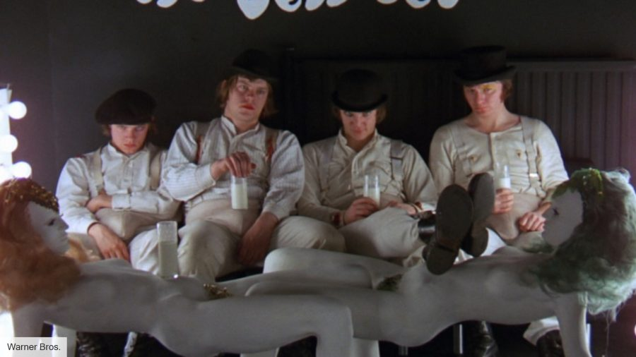 Alex and the droogs in Stanley Kubrick's A Clockwork Orange