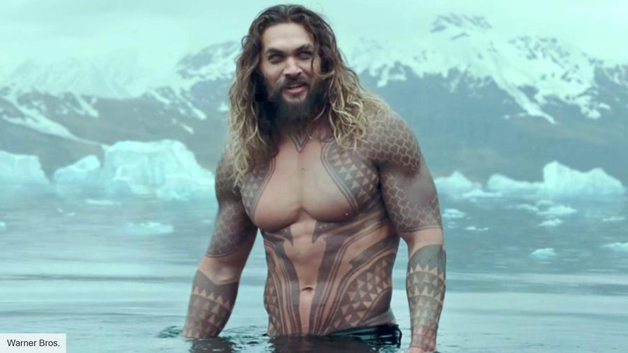 Jason Momoa playing Aquaman in Justice League