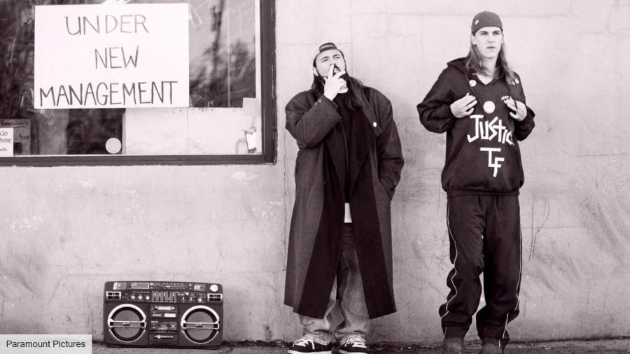Clerks: Jason Mewes and Kevin Smith as Jay and Silent Bob in Clerks