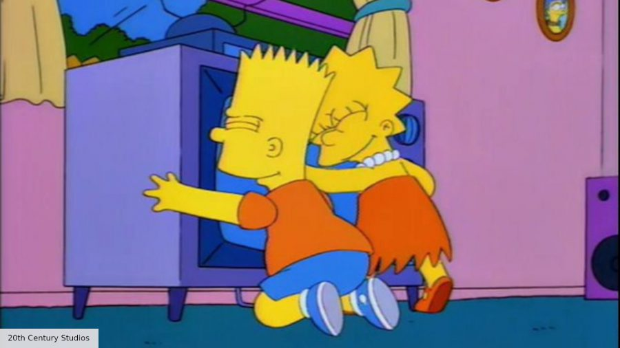 Bart and Lisa hugging the TV in The Simpsons