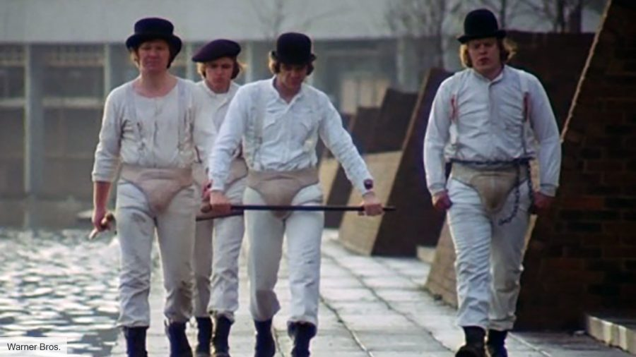 Malcolm McDowell and the Droogs in A Clockwork Orange